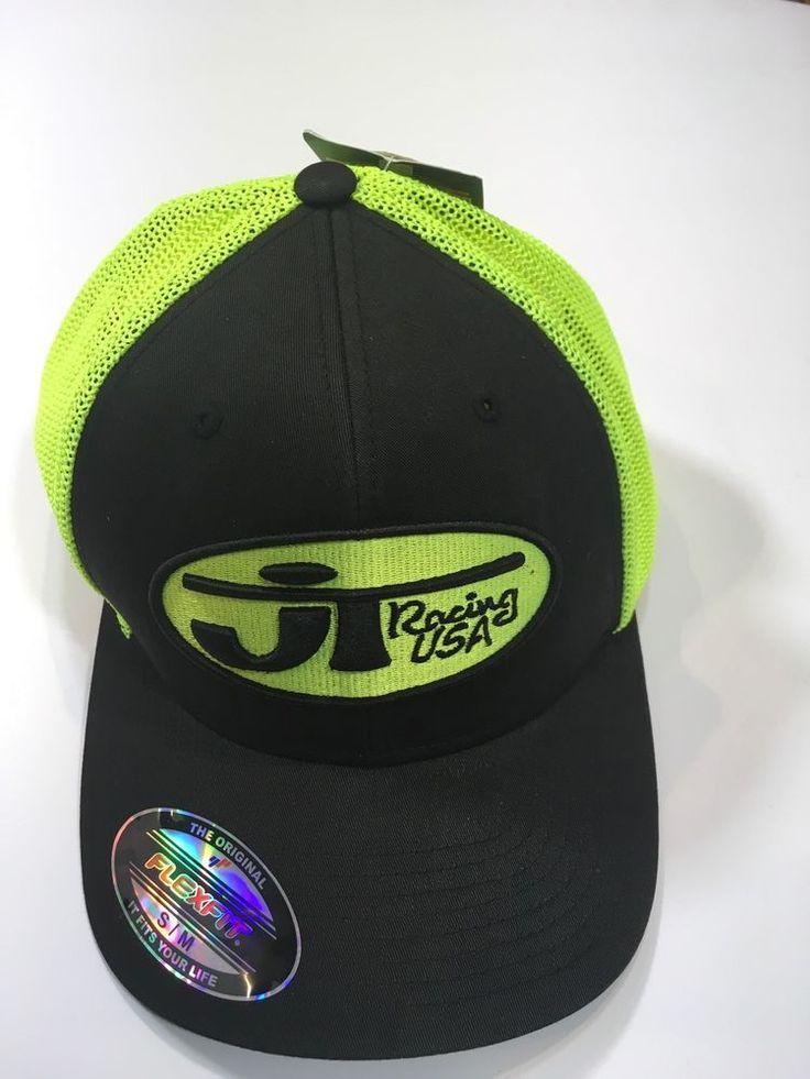 JT Racing USA Flexfit Hat NWT Size S/M Black Yellow