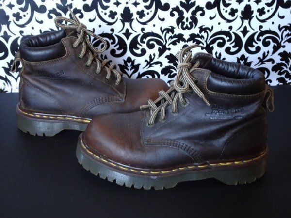 Dr Doc Martens Men's Boots Vintage Brown Leather US 7 UK 6 Made in England #DrMartens #AnkleBoots