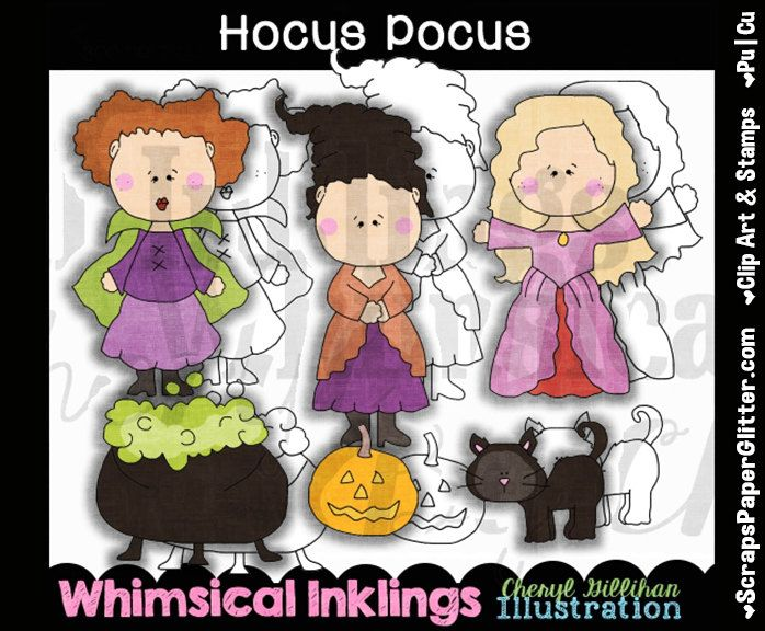 Hocus Pocus Clip Art, BONUS Lineart, Commercial Use, Digital Stamps, Clipart, Black & White, Movie, Sanderson Sisters, Witch, Spell, Potion by ResellerClipArt on Etsy