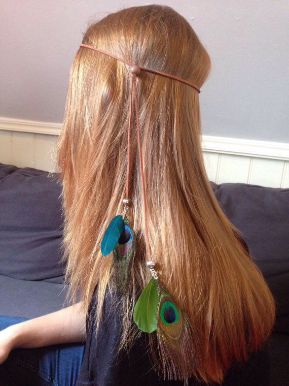 Bohemian headband suede with feathers. Peacock feathers