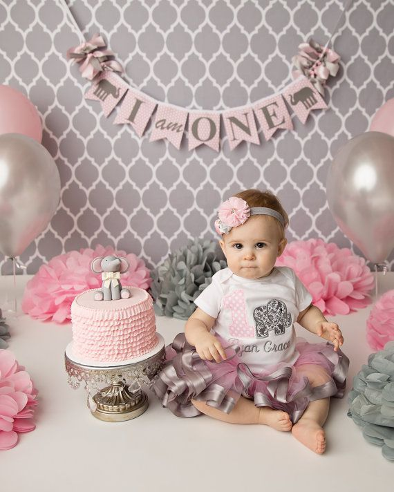 Astounding Girl First Birthday Smash Cake Banner Pink Elephant 1St Personalised Birthday Cards Veneteletsinfo