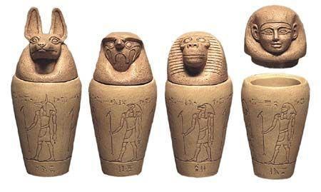Canopic Jars were used as containers in which to hold the internal organs of the deceased that was going to be mummified. The baboon-headed Hapy guarded the lungs. The human-headed Imsety was the guardian of the liver. Jackal-headed Duamutef guarded the stomach and upper intestines and falcon-headed Qebehsenuef guarded the lower intestines.