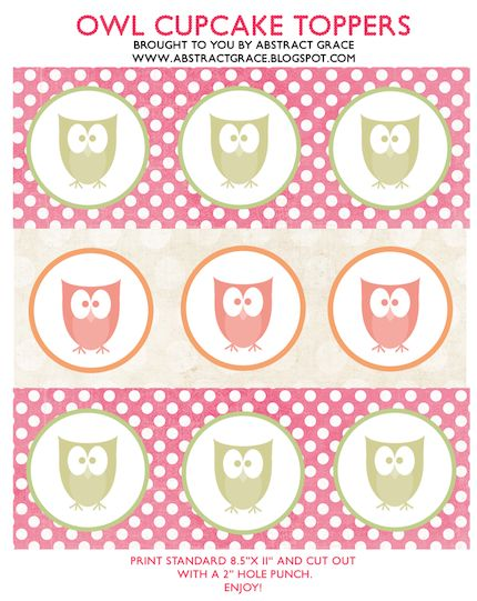 Abstract Grace: {free download: owl cupcake toppers}