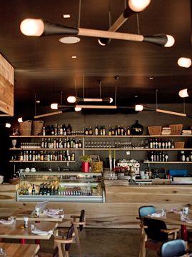 Craft Tratorria, custom designer lighting by Egg Designs. Black ceiling.