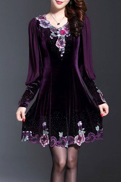 Wordeyige Deep Purple Long Sleeve Embroidered Velvet Dress | Mini Dresses at DEZZAL Click on picture to purchase!
