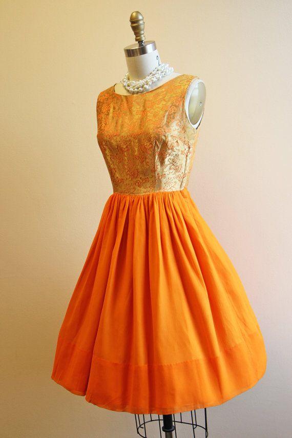 50s Dress Vintage 1950s Dress Gold Brocade Fiery by jumblelaya