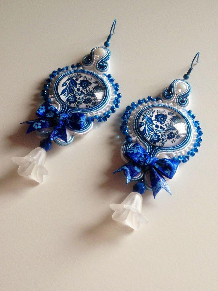 Niebiesko- białe kolczyki | Lolissa sutasz