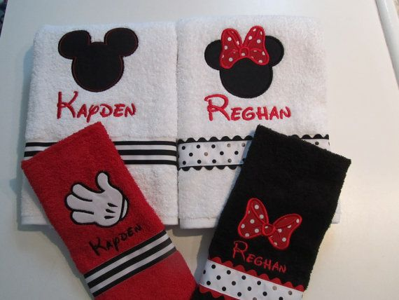 Mickey and Minnie Mouse Towel Sets Red Towel Black by kadydesigns
