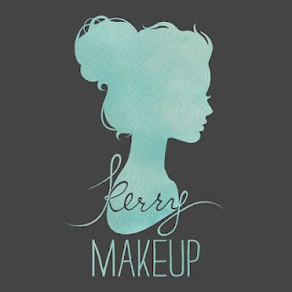 Teal and gray Kerry Makeup logo
