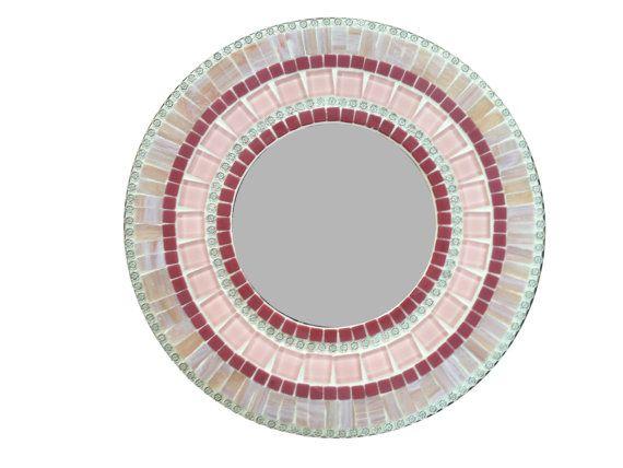 Pink Round Mosaic Wall Mirror // Nursery Decor // Accent Mirror