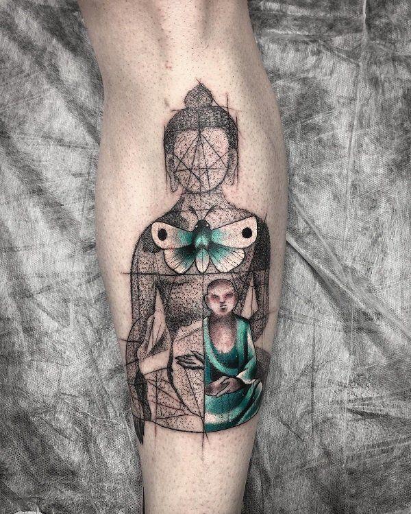 Buddha with butterfly leg tattoo