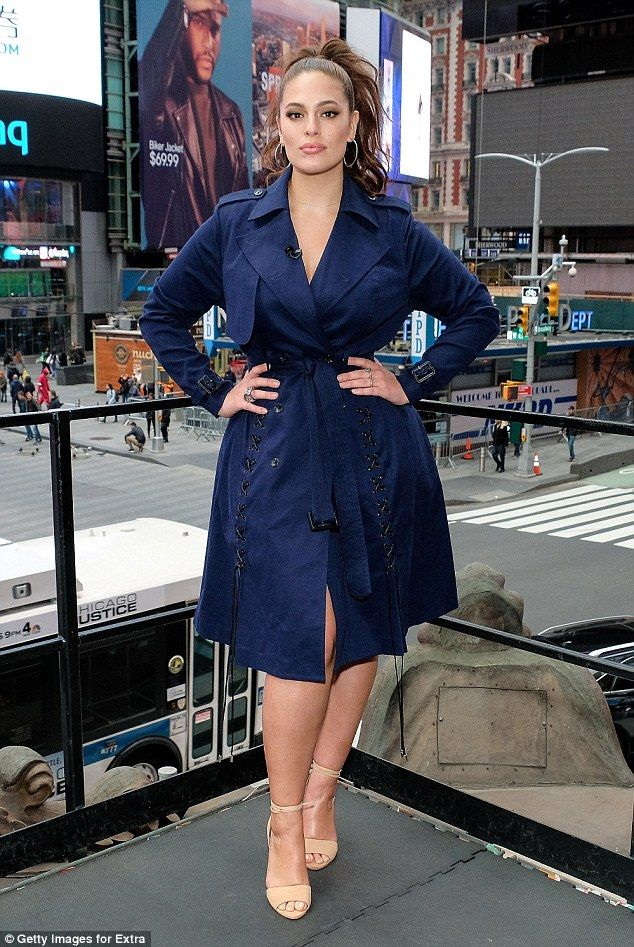 Be a beauty in blue with Ashley's Prabul Gurung x Lane Bryant Trench  Click 'visit' to buy it now   #DailyMail