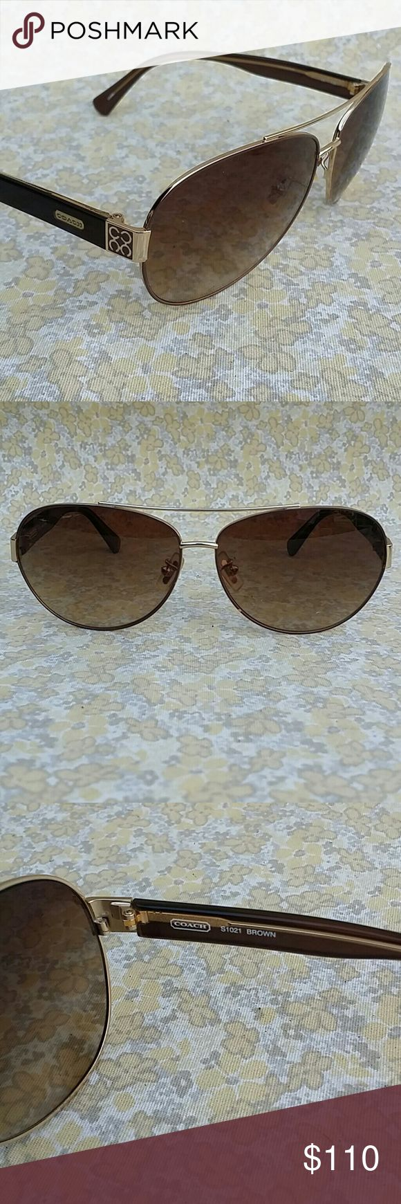 FLASH SALE Coach S1021 Gold Aviator Sunglasses Coach S1021 Brown & Gold Aviator Sunglasses Coach Accessories Sunglasses