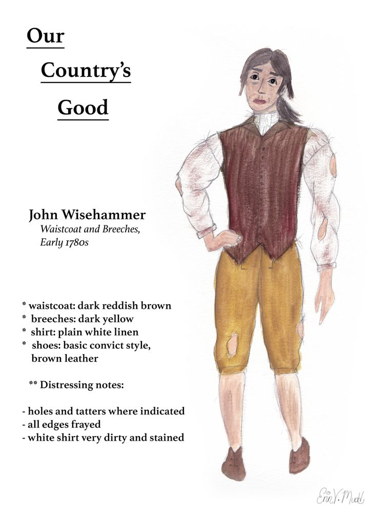 """""""Our Country's Good"""" -- John Wisehammer, watercolor on paper. (Digital text added to scan of original.) Created for Advanced Design class, Grossmont College, 2015"""