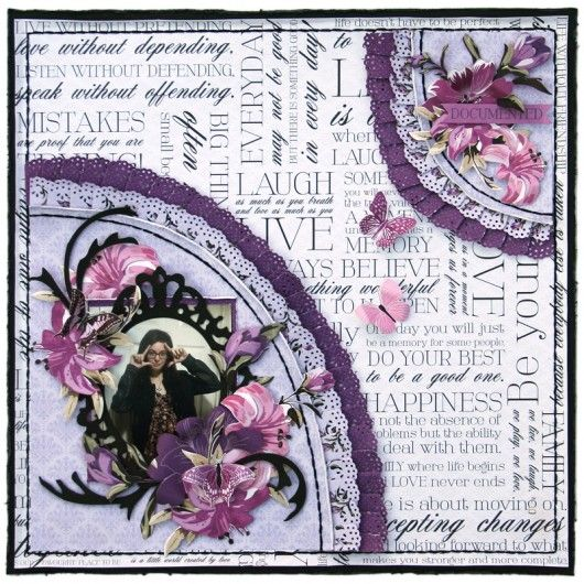 layout for Merly Crop using Kaisercrafts Violet Crush collection.