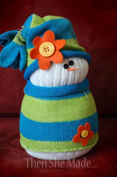 Snowman made from socks! So stinkin' cute and easy to make!