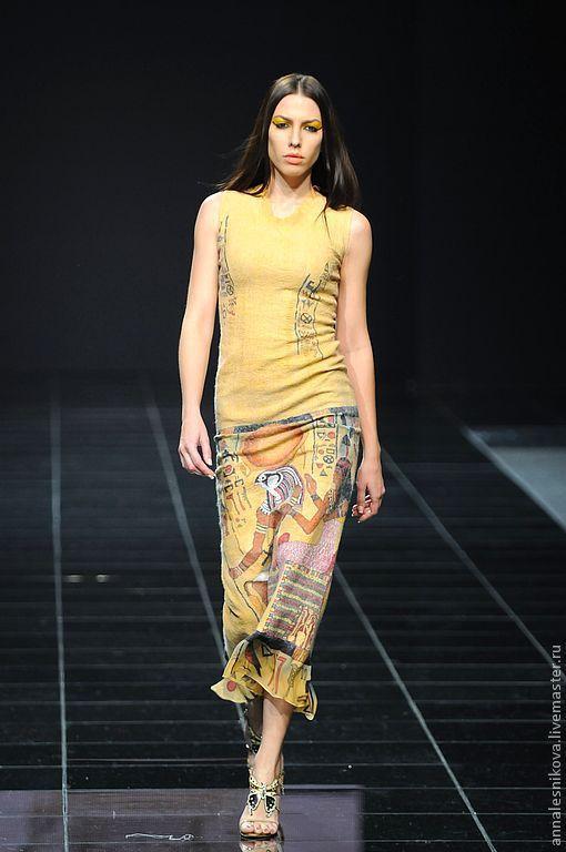 """Купить Платье """"Фрески"""" - авторское платье, нарядное платье, вечернее платье, платье войлочное, нунофелтинг"""