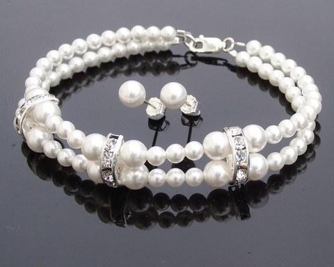 Bracelet & Earring Sets - Bridesmaids Pearl & Swarovski Crystal Bracelet & Earring Set, Dame