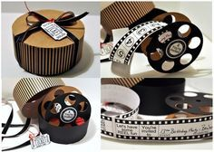 Movie reel die cut machine file at cutting cafe.  $5.25 for 1 movie reel template, 1 round box, 6 circle printable tags, 1 plain filmstrip and 13 filmstrip images