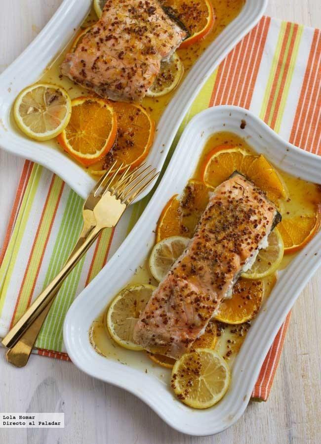 Receta de salmón al horno con cítricos. Receta de pescados. Con fotos del paso a paso y de presentación. Con consejos de elaboración,presentaci...