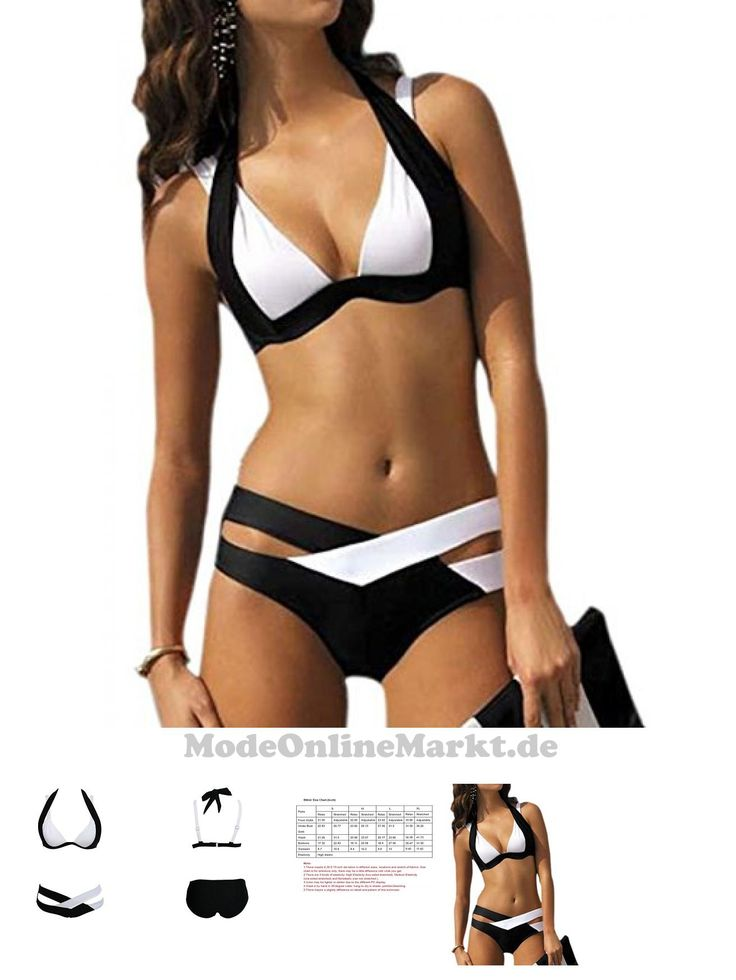 6881214207690 | #Aidonger #Damen #Elegant #Weiß und #Schwarz #Bikini-Sets #Neckholder #Push-Up #Bademode #Zweiteilig #Strandmode #(L / #36-38, #Weiß-Schwarz #)