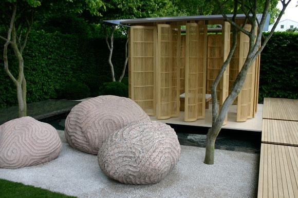 etched stones . Laurent-Perrier garden . designed by Luciano Giubbilei
