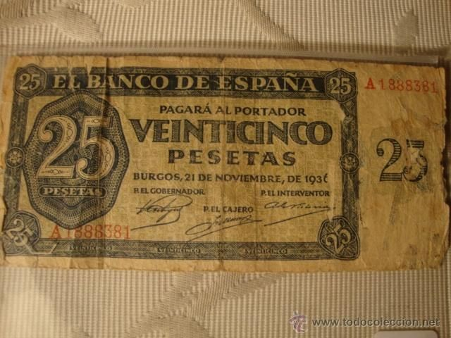 BILLETE de 25 Pesetas Burgos 1936 Escaso