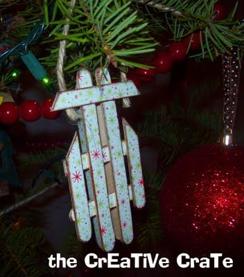 DIY Popsicle Stick Sled Ornament