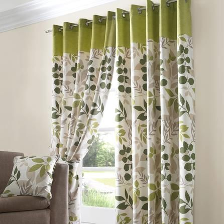 Green Jakarta Lined Eyelet Curtains Dunelm Mill Home