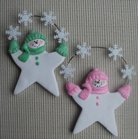 "Pastel star glitter snowmen 4"" polymer clay ornament by JessiesCornerClay on Etsy"