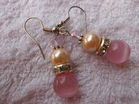 Envío gratis moda para mujer rosados naturales ópalo y de concha de perla pendientes Austria Rhinestone EH004 EH004