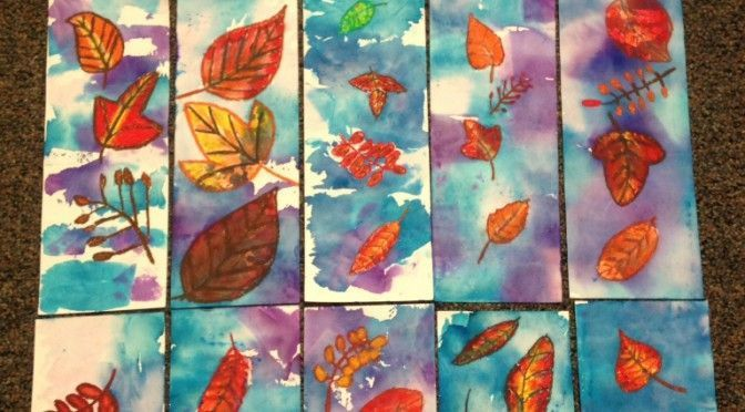 Oil Pastels Leaves Printmaking Leaves Pastels Printmaking Oilpastels In 2020 Fall Leaf Art Projects Watercolor Art Lessons Autumn Leaves Art