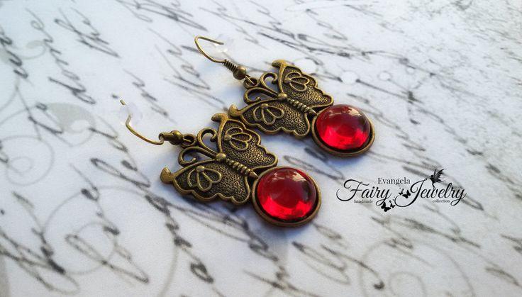 Orecchini farfalle cabochon vetro rosso bronzo pendenti, by Evangela Fairy Jewelry, 9,00 € su misshobby.com