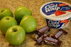 Carmel Apple Snicker SALAD!  This is truly yummy!!  3 Granny Smith apples  3 Gala apples (you can use your favorite, but I like the color with a red and green apple).  Snickers (or your favorite candy bar, I have used Rolo and Milky Way in the past (especially if there is a concern for peanut allergies) - (you can't use too little of these)  Cool Whip  Carmel topping  Cut apples & candy bar into bite-size pieces, mix in cool whip. Refrigerate until ready to serve. Top with…