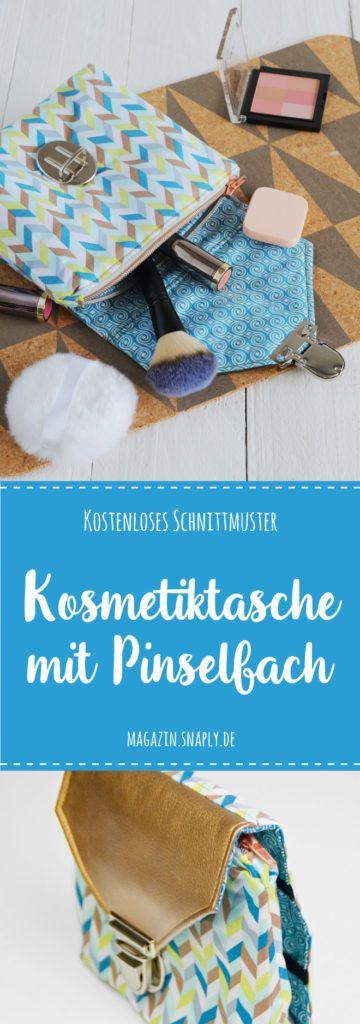 Kostenloses Schnittmuster: Kosmetiktasche mit Pinselfach