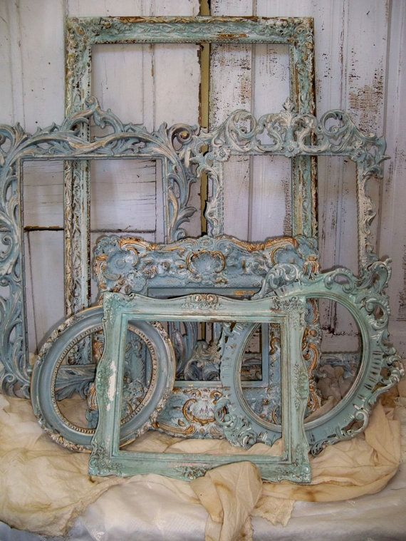 French blue ornate large frame grouping distressed cottage wall and home decor…