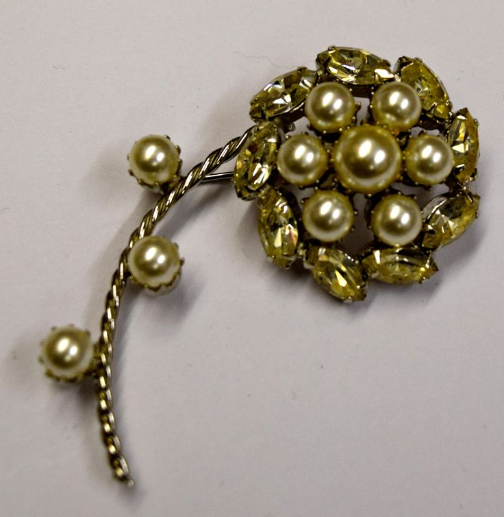Vintage Flower Costume Brooch Pin Costume Pearls Clear Stones