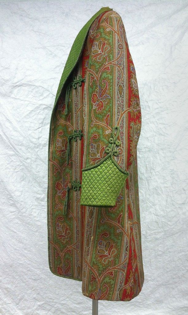 Unknown Designer USA c.1865 / This is a smoking jacket worn by Mr. Frederick William Thomas Jr. from about 1865 to his death in 1909. The vibrant green and red colors have been achieved with aniline dyes