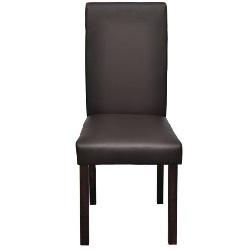 2 pcs Artificial Leather Wood Brown Dining Chair