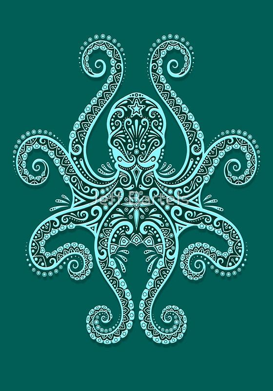 Intricate Teal Blue Octopus by Jeff Bartels