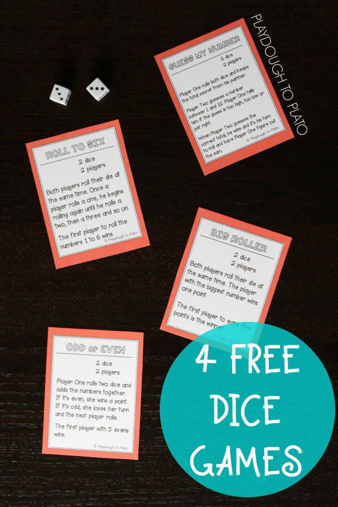 4 Free Dice Games. Easy to learn, fun to play activities. They'd be great math games or busy bags. Work on addition, counting... lots of things.