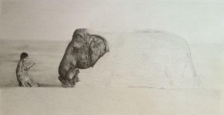 Elephant and boy reading