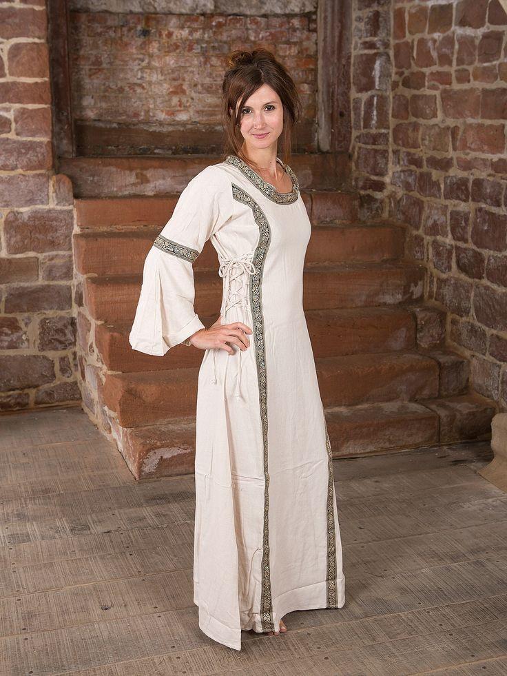 Mittelalterkleid in natur, mit Borten und seitlicher Schnürung