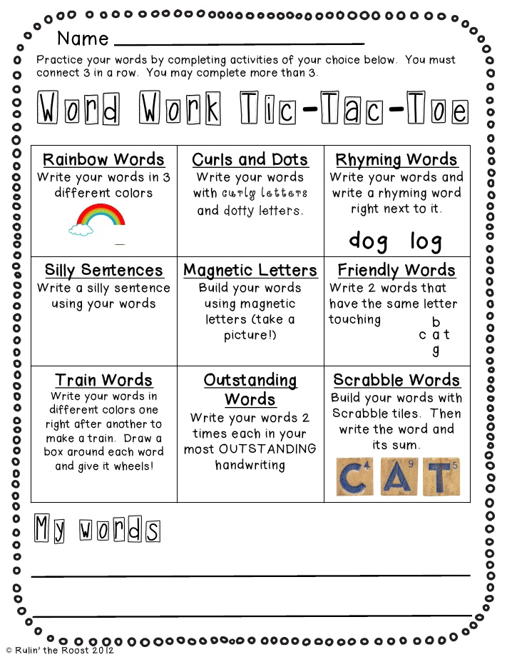 tic tac toe homework template - spelling choice reading pinterest