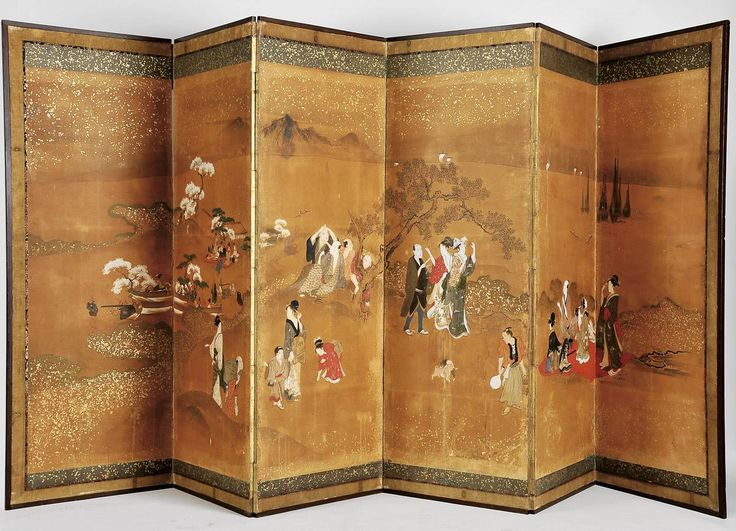 Biombo japonês de seis folhas. Período Edo. (1615-1868) | Galeria de Arte e Antiguidades - Marcos & Marcos