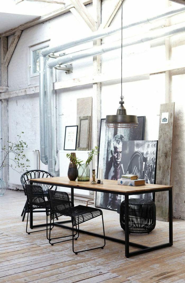 einrichtungsideen wohnen röhren offen lassen home office tisch metallene stühle