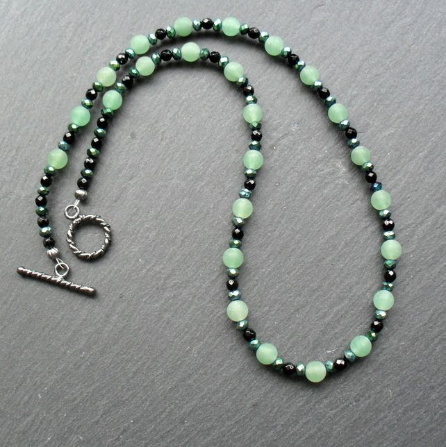 Frosted Green Aventurine Black Agate Crystals Black Tone Necklace £10.00