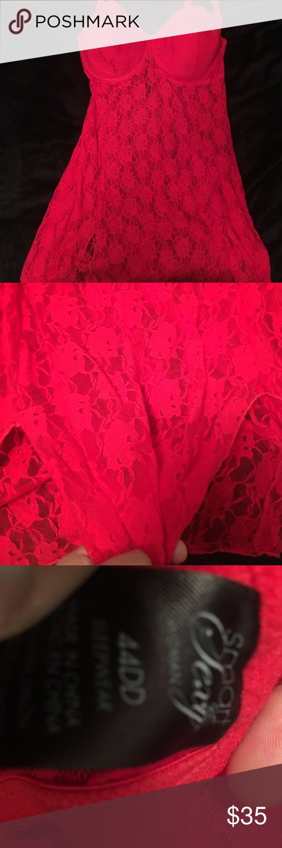 Fire red lingerie See through from under the bust and down. Adjustable band on the back, jewel design on cups. Side slits on the front. Intimates & Sleepwear Chemises & Slips