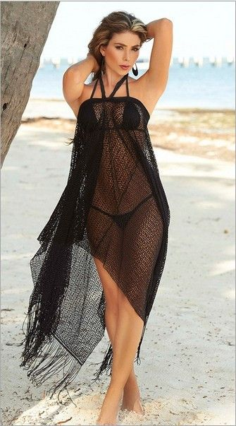Black Sheer Net Beach Dress Swimwear Cover Up With Black