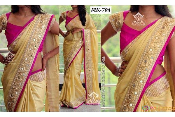 Designer Inspired Party Wear Light Yellow Colour Makhan Silk Saree Buy Sarees